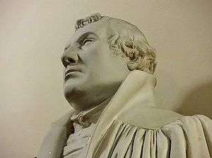 Close-up shot of a bust of Martin Luther