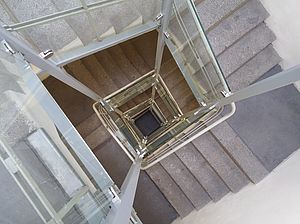 View of a spiral staircase from above